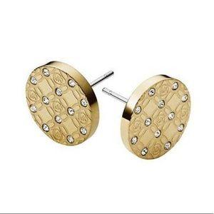 NWT/NIB Michael Kors Gold Toned & Crystal Earrings